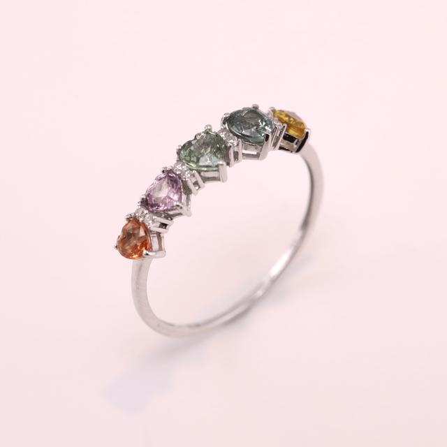 Multi Color Sapphire Ring -Heart Shape