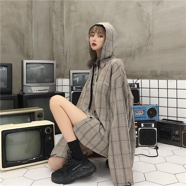 【トップス】シンプルチェック柄長袖フード付きシングルブレストシャツ18077903