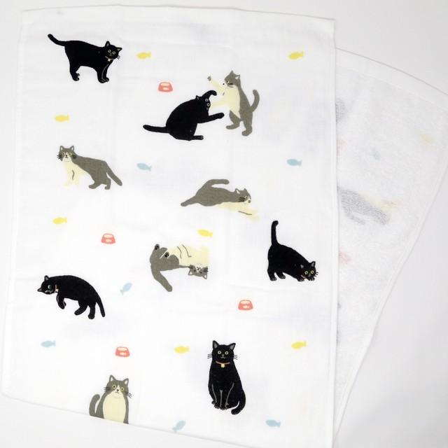 猫フェイスタオル(ガーゼとパイル)黒助と八郎