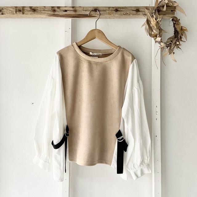 ストライプパッチワークシャツワンピース