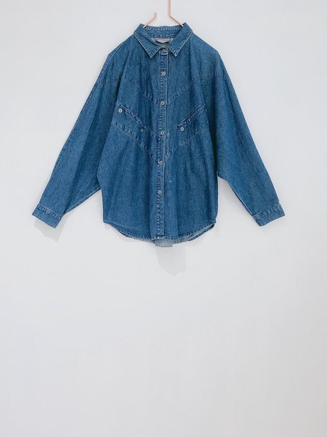 ◼︎90s dolman sleeve denim shirt from U.S.A◼︎