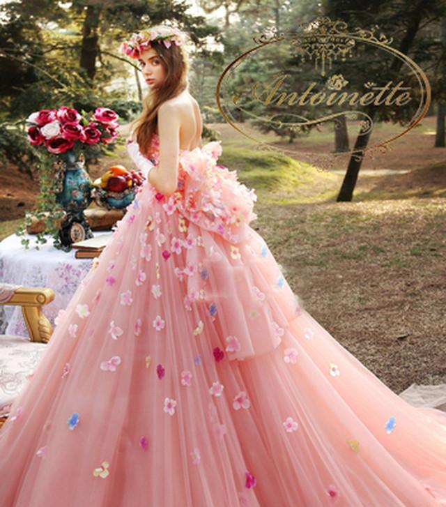 ladies wedding dress white long A-line happy ceremony 海外 花柄 ウエディングドレス ピンク かわいい Aライン