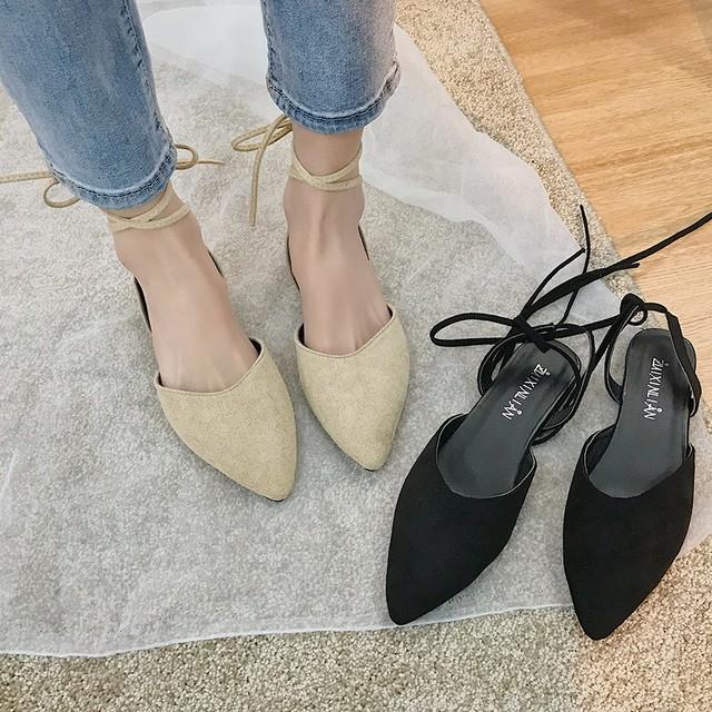 【shoes】大好物ポインテッドトゥフェアリーフラットシューズ