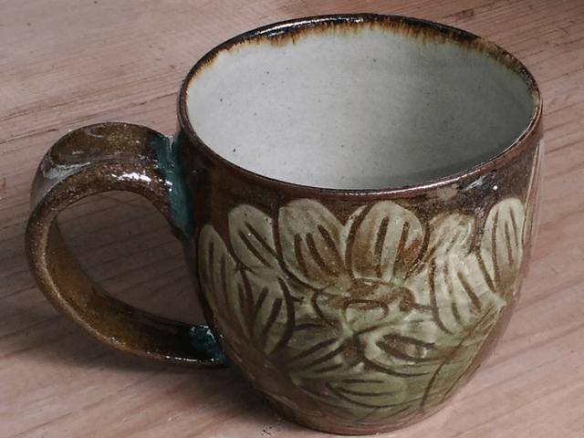 やちむん 青陶舎 青柳晃 カフェオレが似合うマグカップ(ひまわり)