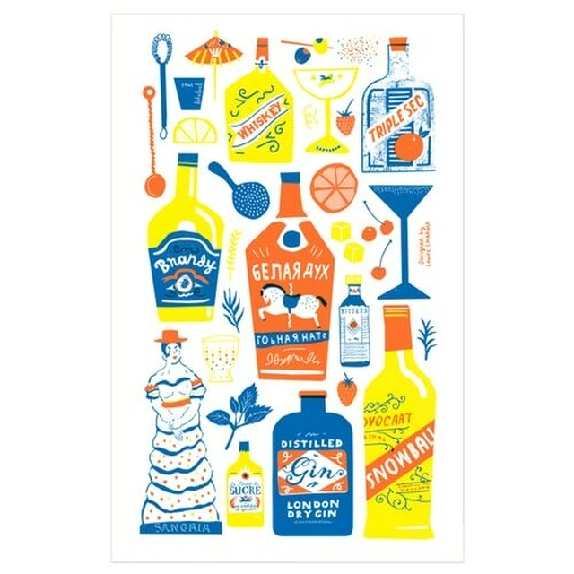 Screen Printed Cocktail Cabinet Tea Towel