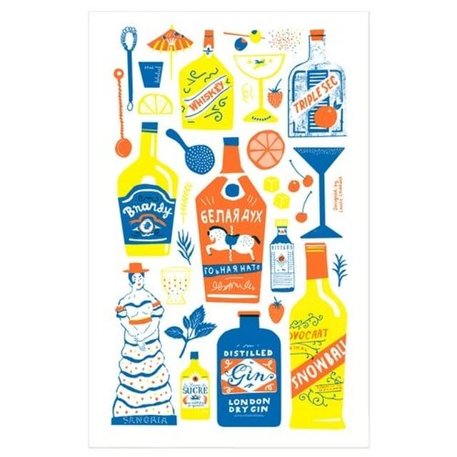 Screen Printed Cocktail Cabinet Tea Towel