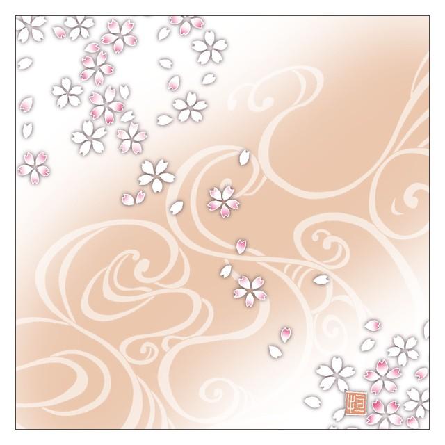 ガラス皿「そめゆら」Y-08 流水 桜02