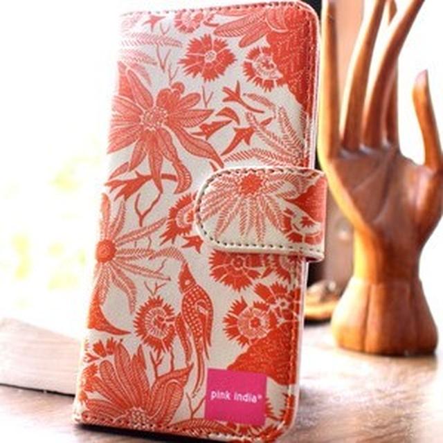 北欧デザイン pinkindia iPhoneケース手帳型 Paradise orange