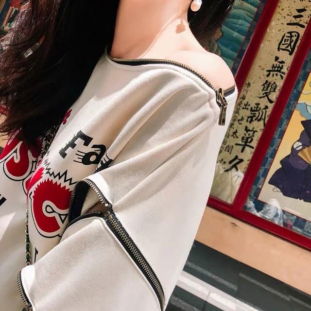 【即納】zipper sleeve sweat