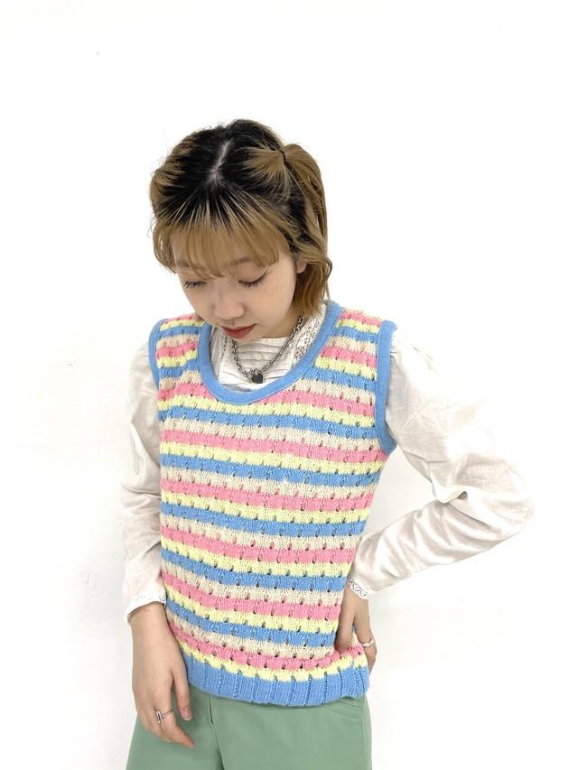 stripe knit vest / 3SSTP06-17