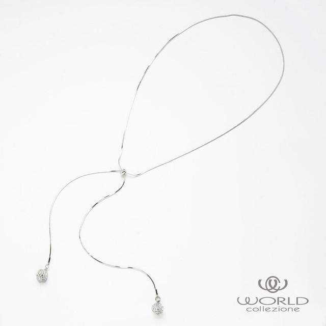 【worcolle】キラキラボールパーツのスライダーネックレス【No.132549】