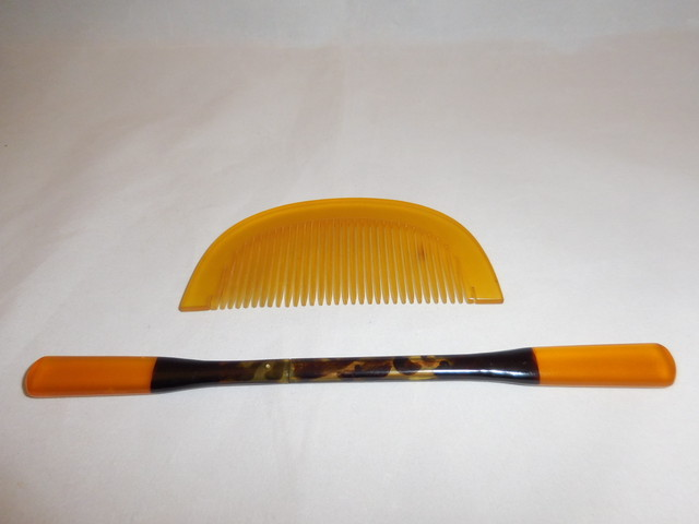 鼈甲の櫛と笄 tortoiseshell work ornamental comb and hair pin(simpl)