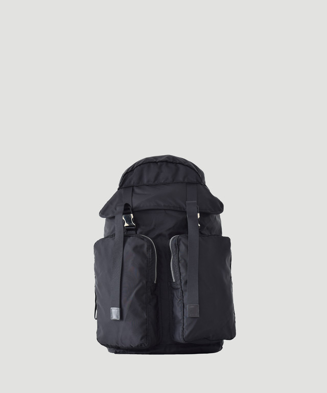 LORINZA   Nylon Twill Double Pocket Backpack Black LO-STN-BP34