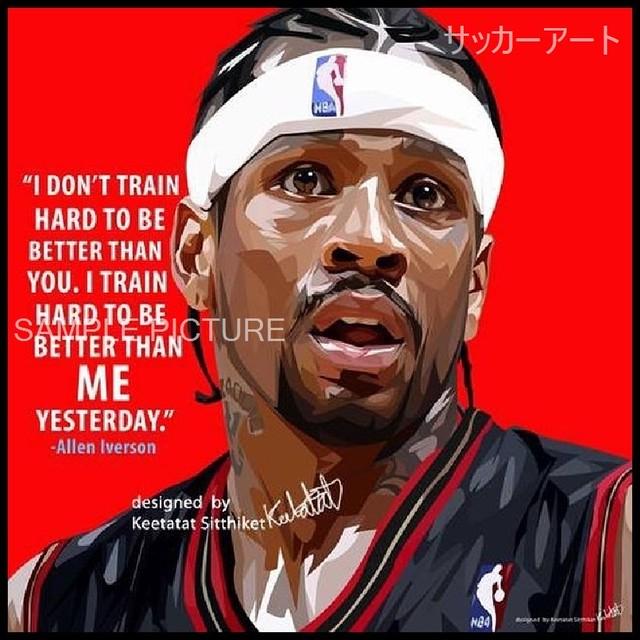 スポーツグラフィックアートパネル アレン・アイバーソン デザインB NBAフィラデルフィア・76ers 木製 壁掛け ポスター (003-048)