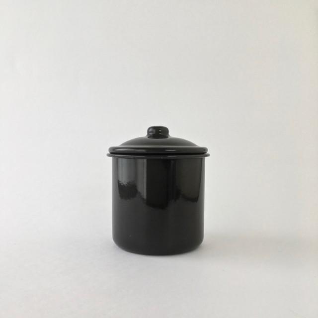 黒いホーローのシュガーボウル|Black Enamel Sugar Bowl