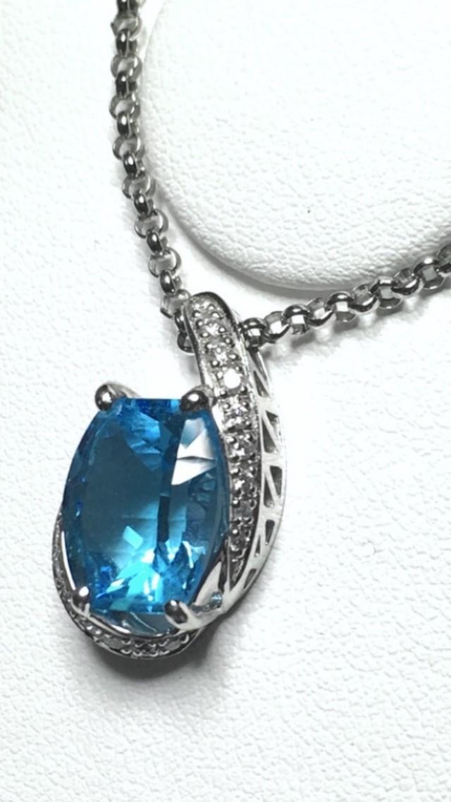 【年末年始SALE】【3日以内返品可(※カード/キャリア決済の場合)】涼を呼ぶブルー☆ブルートパーズ5.43ct ダイヤモンド 計0.15ct Pt900/850 ネックレス