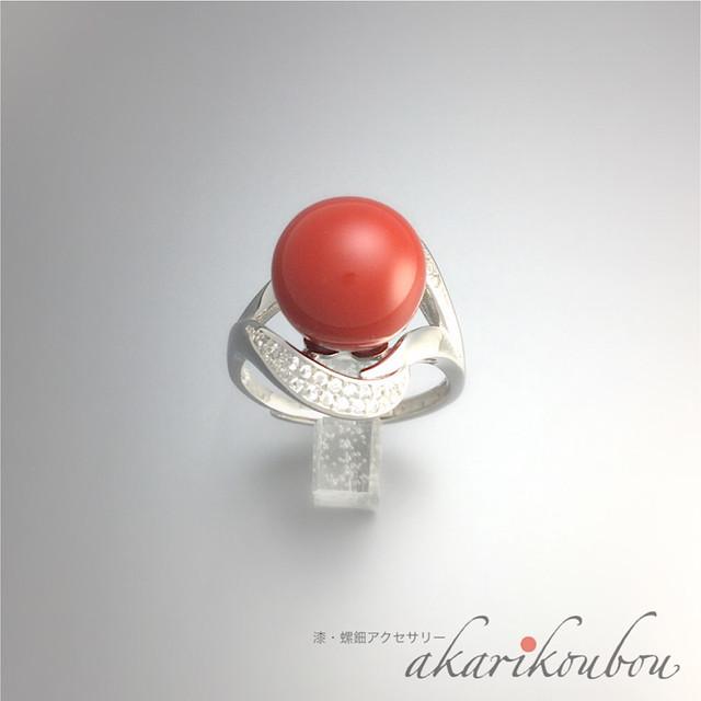 漆 指輪 赤 朱漆 10mm玉 フリーリング キュービックジルコニア 漆アクセサリー : silver925 ロジウム フリーサイズ 華やか 女性 還暦 お祝い 贈答品 プレゼント