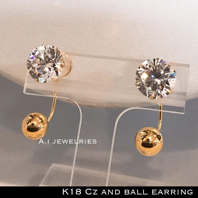 ピアス 18金 ボール キュービック ジルコニア k18 Cz 石 ピアス 6mm ボール / k18 Cz 6mm ball  earring