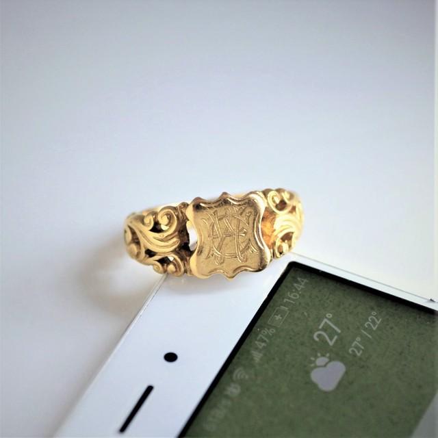Gold Initial monogram ring  ゴールド イニシャル モノグラム リング