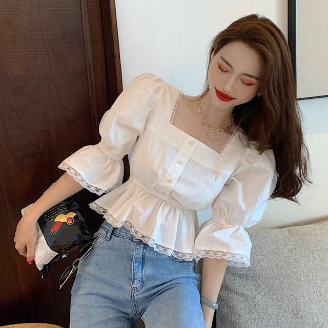 【トップス】魅力韓国系スクエアネックボタンスピーカースリーブプルオーバーシャツ41876043