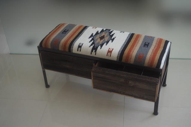 品番UMR2-105  2drawer ottoman[narrow/ Tribal rug]