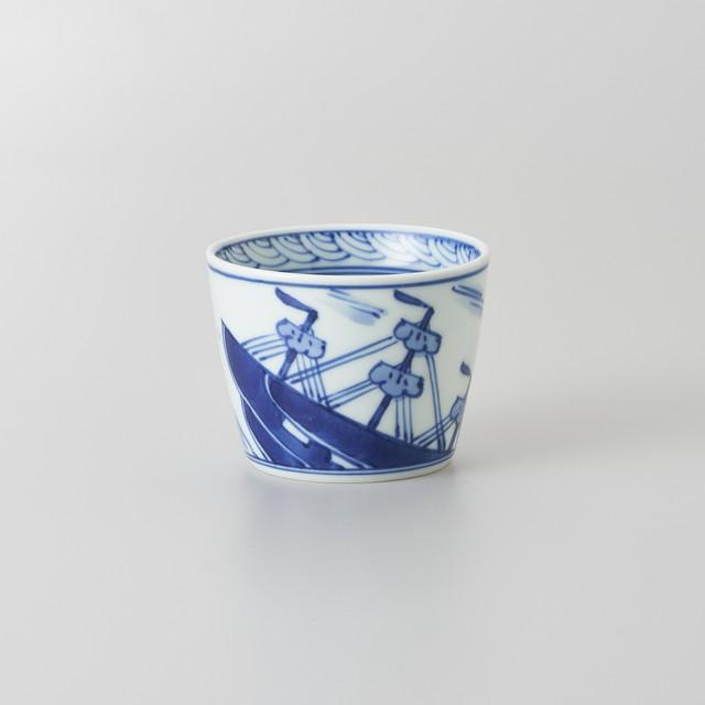【青花】帆船 そば猪口(小)
