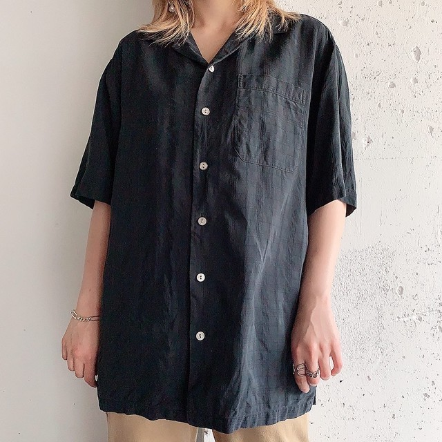 Euro vintage silk shirt -black-