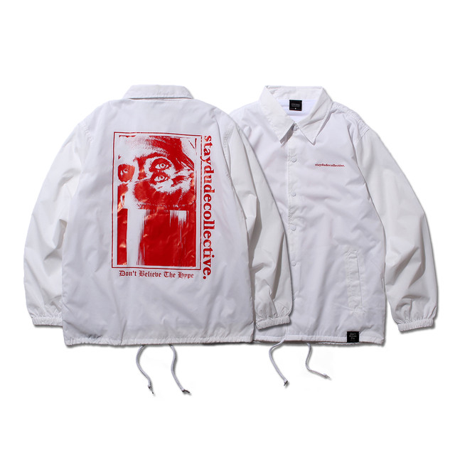 【STAY DUDE COLLECTIVE】Don't Believe The Hype Coach Jacket (WHITE)