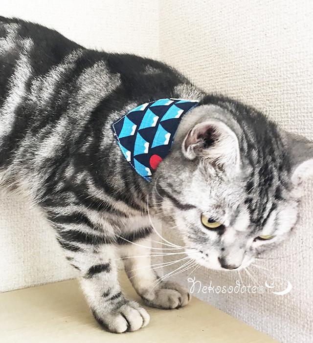 【和いろいろ柄】猫用バンダナ風首輪/選べるアジャスター 猫首輪 安全首輪 子猫から成猫