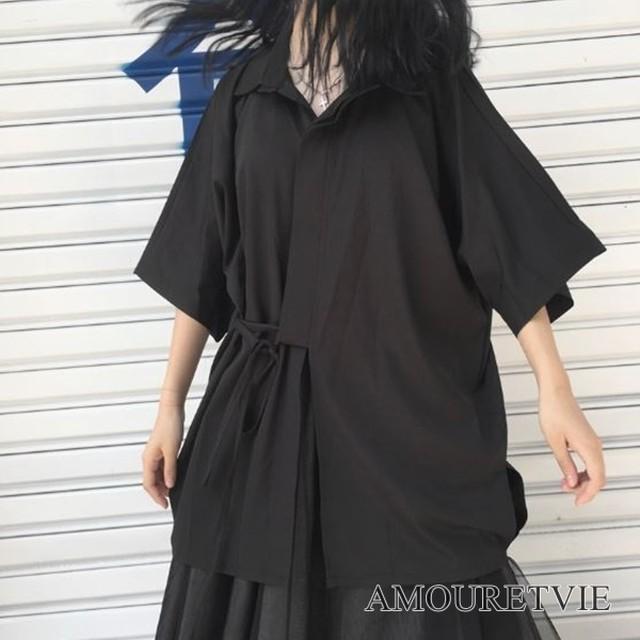 シャツ 羽織 風 カットソー カジュアル 黒 ブラック ゆったり ピープス オルチャン 韓国ファッション 1278