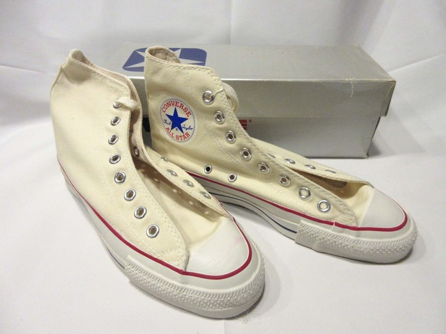 80's CONVERSE ALL STAR 銀箱 きなり Hi / Men's 7 * Dead Stock