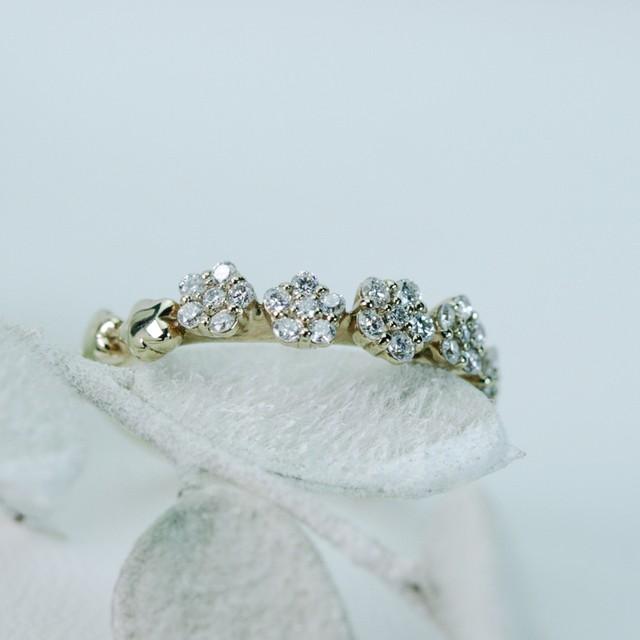 ピンクゴールドとダイヤモンドのリング K10 11号