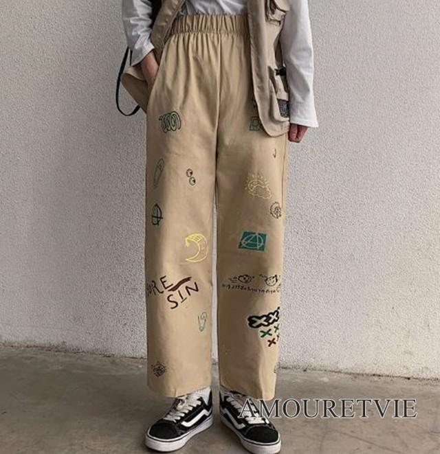カジュアルパンツ ストリート ボトムス ズボン カジュアル ストリート 原宿 系 ストレートパンツ オルチャン 韓国ファッション 1199
