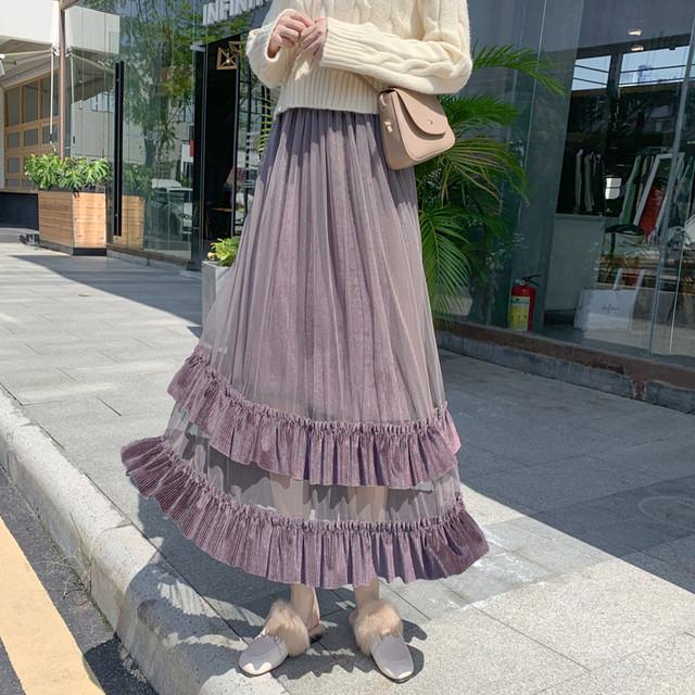 【bottoms】ベルベット生地少女デザイン無地スカート