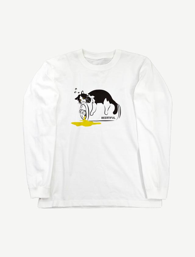 【ほろ酔いにゃんこ】ロングスリーブTシャツ(ホワイト)