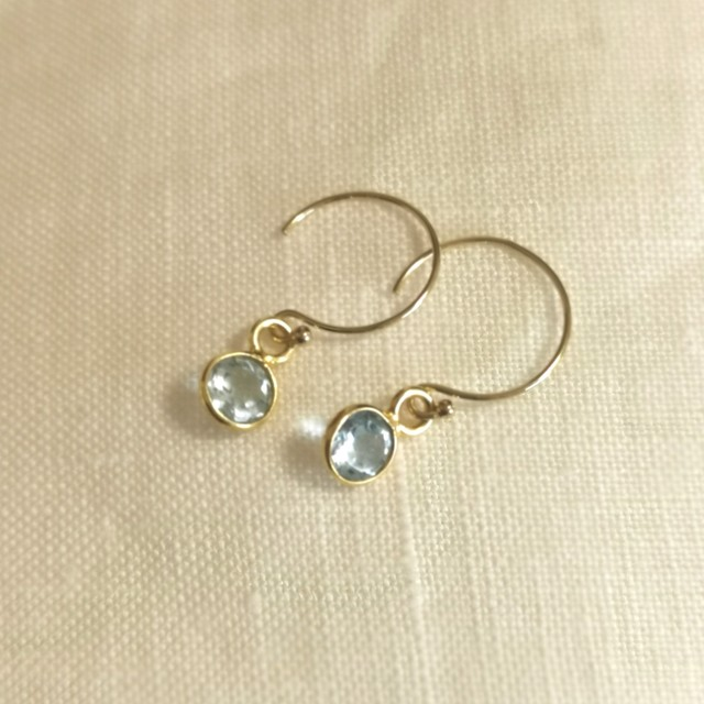 Skyblue topaz 14kgf earrings