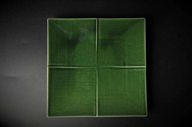 緑釉千筋正角皿 美濃焼