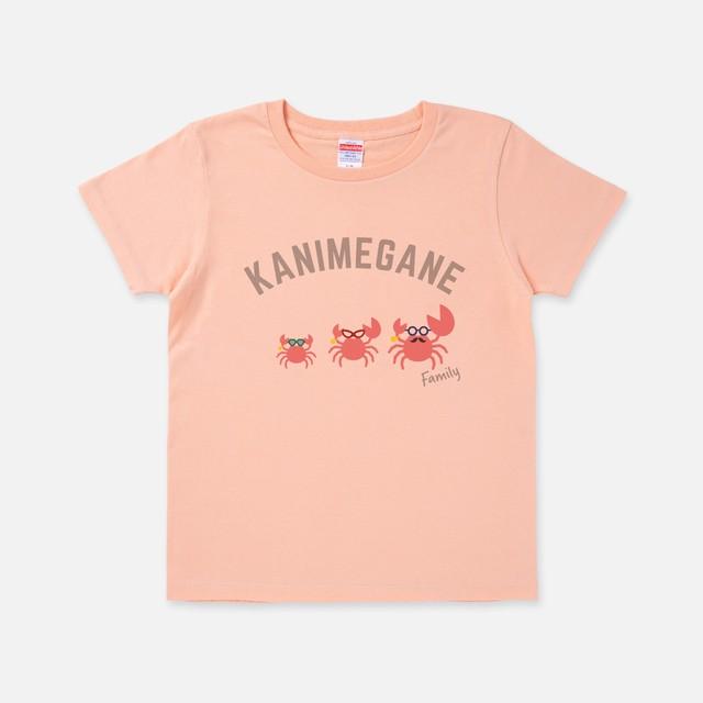 Tシャツ[カニメガネ]カニファミリー アプリコット色