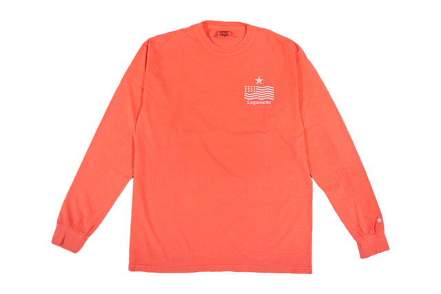 "【""USA"" vintage long sleeve】/ neon red"