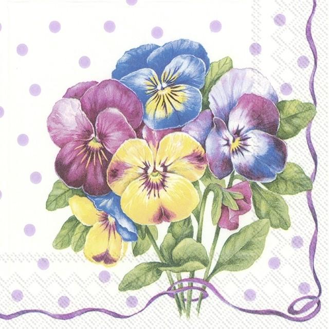 11月23日出荷|2020春夏【IHR】バラ売り2枚 カクテルサイズ ペーパーナプキン PURPLE PANSY ライラック