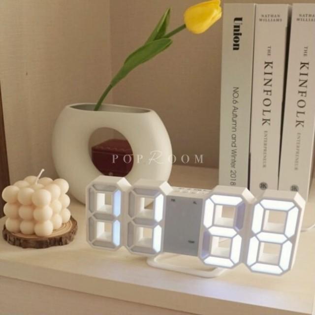 ホワイトLEDデジタル時計 R1016