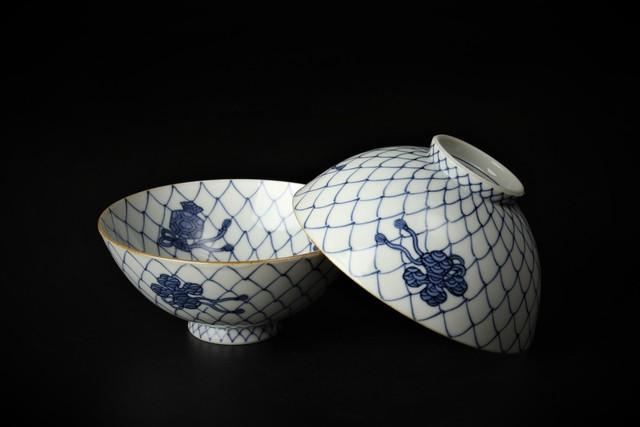 内外網目宝紋飯碗 清水焼