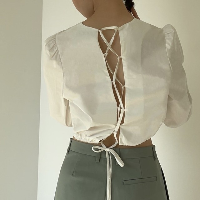 back lace up cropped tops