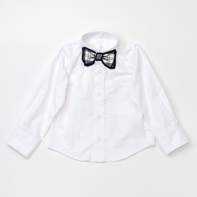 【SUPERTHAKS KIDS】蝶ネクタイワッペンシャツ ホワイトチェック110
