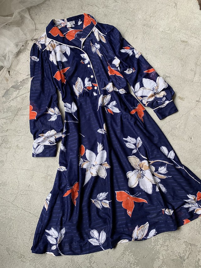 vintage floral dress -navy ×orange-