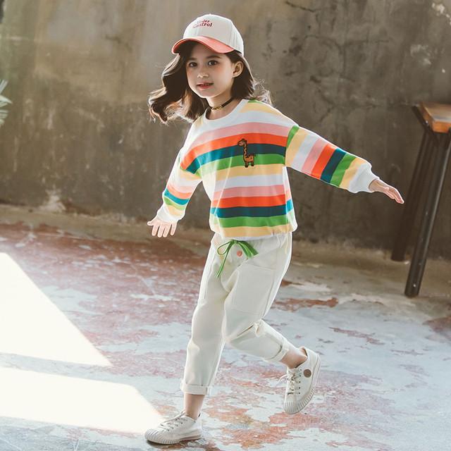 【セット】カジュアルレインボー刺繡動物柄ストライプ柄女の子二点セット25596532