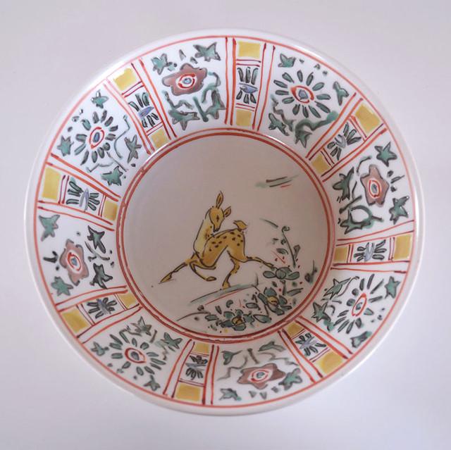 色絵芙蓉手鹿文鉢