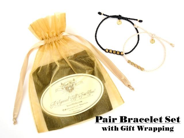 Brass Beads Bracelet/White (Gold/Silver)[真鍮ブレスレット]