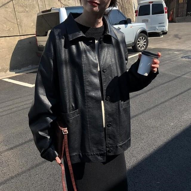 PUレザー ジャケット 襟付き シャツジャケット フロントボタン カバーオール ブラック ボーイズライク カジュアル ルーズ 春秋 TP2642
