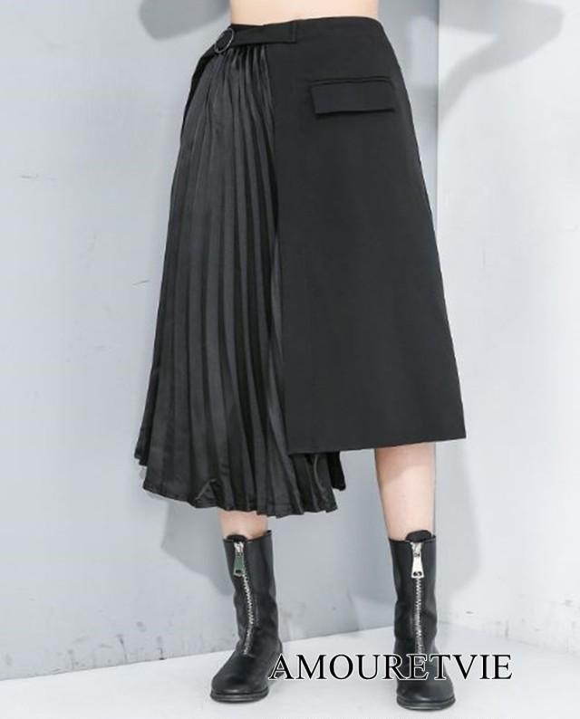 ロングスカート プリーツ 黒 ブラック アシンメトリー シック モダン ワンカラー モード系 ヴィジュアル系 1163